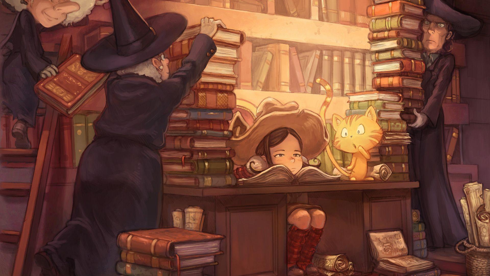 Pepper doit étudier beaucoup de livres de sorcellerie et Carrot le chat est surpris