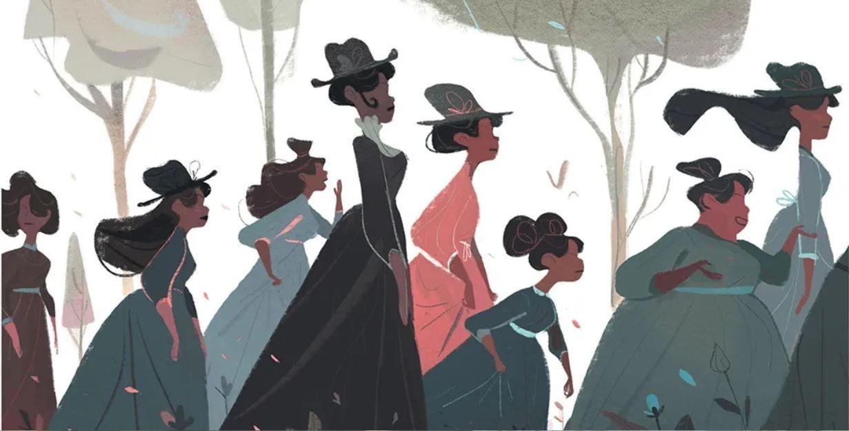 Illustration tirée de Blanc autour de Wilfrid Lupano et Stéphane Fert montrant les élèves de l'école pour petites filles noires